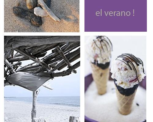 collage-verano-con-helados-y-palos-y-piedras-y-playa-paradisiaca-en-morado-y-crema