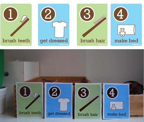 cartas-de-rutina-con-ninos-por-la-manana-cepillarse-el-pelo-lavarse-los-dientes-vestirse-y-hacer-la-cama