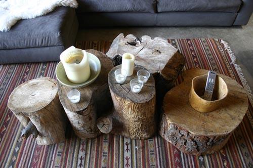 Mesas de troncos escarabajos bichos y mariposas - Tronco madera decoracion ...