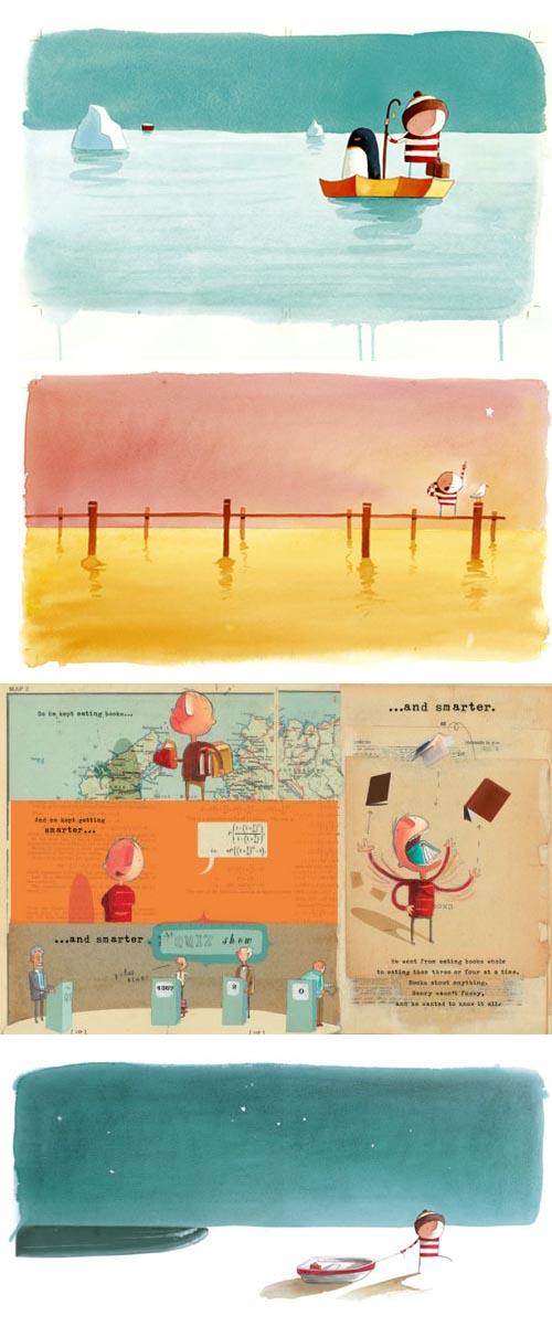 oliver-jeffers-libros-infantiles-como-atrapar-una-estrella-perdido-y-encontrado-ilustraciones-infantiles-gorro-de-rayas-y-barca-y-cohete1