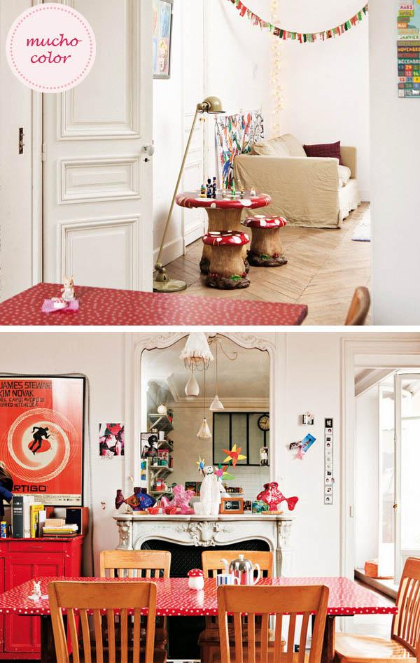 salón con mantel de topos rojos y color en paris