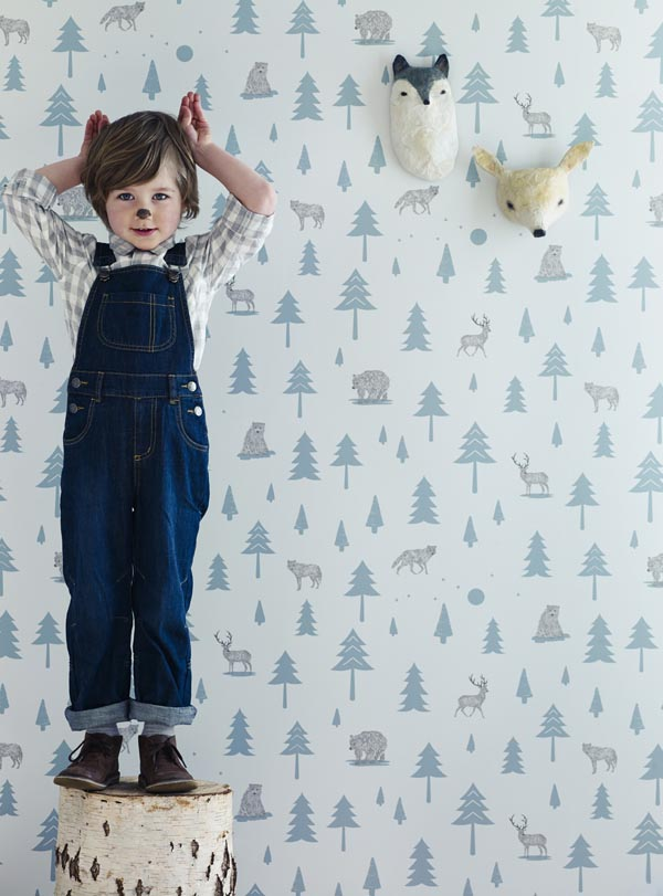 Hibou Home_Into the Wild wallpaper_HH00602_Grey_Storm Green_kids_low res