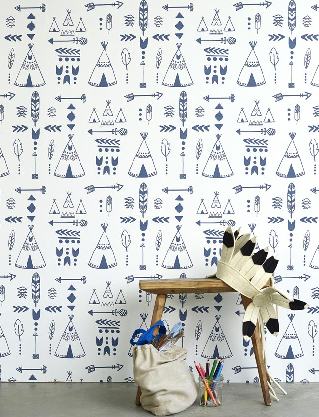 Hibou Home_Teepees wallpaper_Indigo & White_HH01002_a