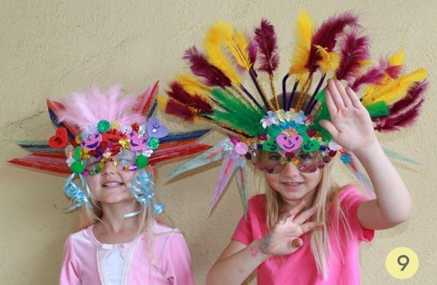 mascara plumas niñas carnval