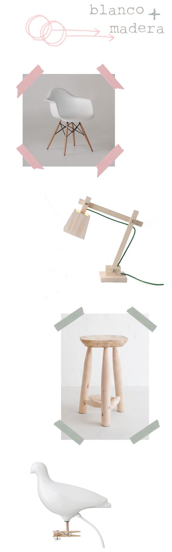 blanco y madera