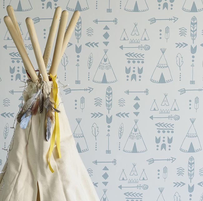 Hibou Home_Teepees wallpaper_Storm Green & Grey_HH01001