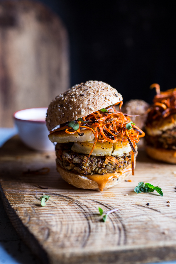 Sunflower-Seed-Veggie-Burgers-with-Grilled-Halloumi-Curried-Tahini-Sauce-1